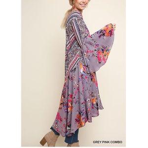Umgee Boho Hippie Kimono Cardigan Duster Tunic Top